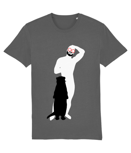 White silhouette of slim hairy bearded gay man wearing red glasses with shadow of otter infront on grey t-shirt