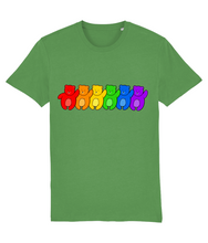Load image into Gallery viewer, Line up of bears in the pride flag colours on green t-shirt