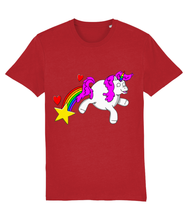 Load image into Gallery viewer, Gay unicorn farting a rainbow, star and hearts on a red t-shirt