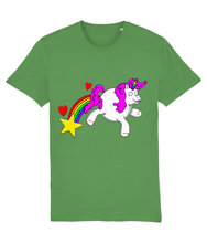Load image into Gallery viewer, Gay unicorn farting a rainbow, star and hearts on a green t-shirt