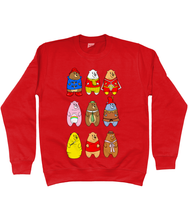 Load image into Gallery viewer, A collection of famous cartoon bears on a red sweater