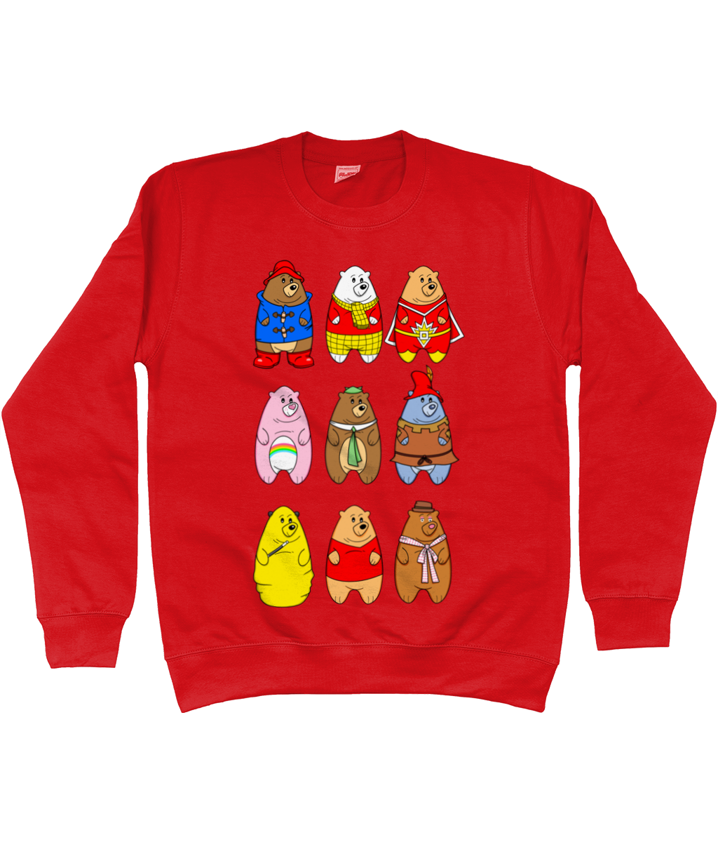 A collection of famous cartoon bears on a red sweater