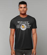 Load image into Gallery viewer, Bottle of poppers coming through glory hole on black unisex t-shirt