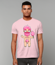 Load image into Gallery viewer, Naked gay sugar daddy cartoon candy floss character on a pink t-shirt