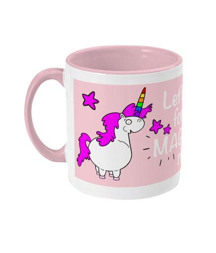 Gay unicorn on pink and white mug