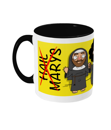 Three bearded hairy gay men dressed as nuns on a yellow and black mug