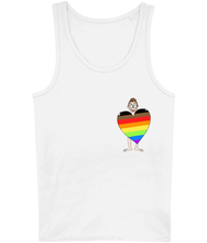 Load image into Gallery viewer, Burty cartoon character holding a Gay Pride Heart on a white tank top