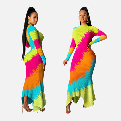 Long sleeve neon tie dye dress