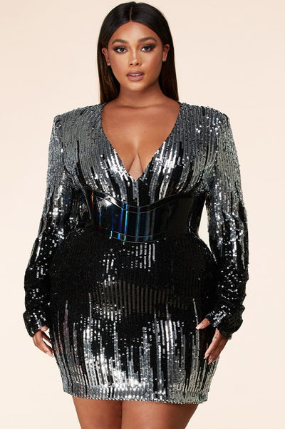 Silver Icicle Sequin Mini Dress