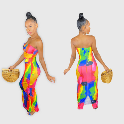 casual strapless bodycon long maxi dress