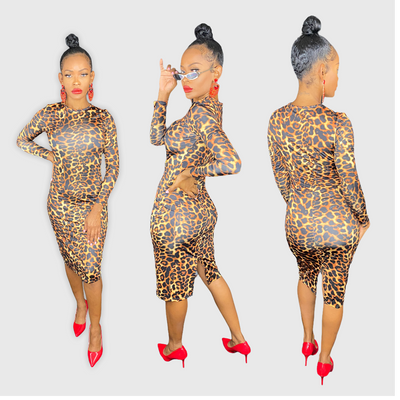 Leopard Print Long Sleeve Bodycon Dress