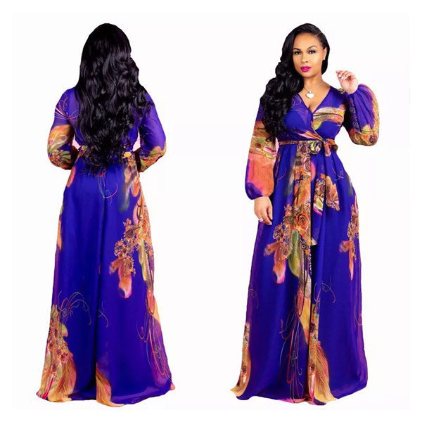 Blue Casual Long Sleeve Floral Maxi Dresses Chiffon