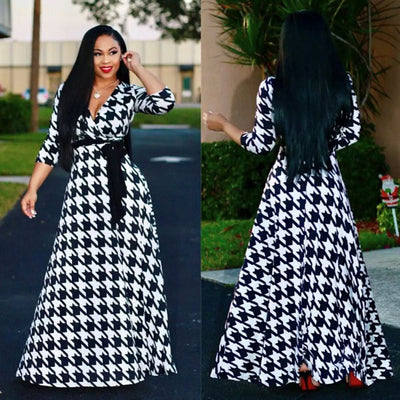 Black & White Casual Maxi Dresses Chiffon