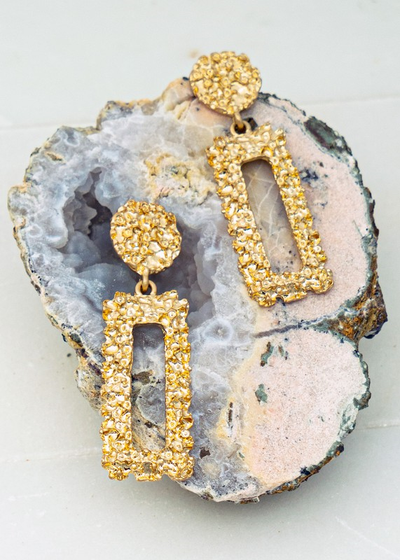 GEO SHAPE GOLD NUGGET CASTING DANGLING EARRINGS