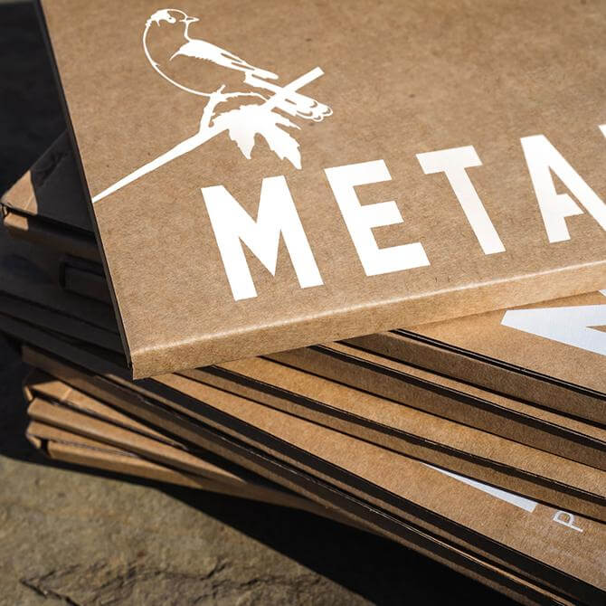 Metalbird boxes made from recycled paper