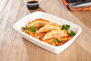 Hot Lunch Ideas for School - Asian Noodle Bowl w/vegetable dumplings
