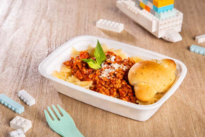Hot School Lunches for Kids - Bolognese Bowties w/ Garlic Knot