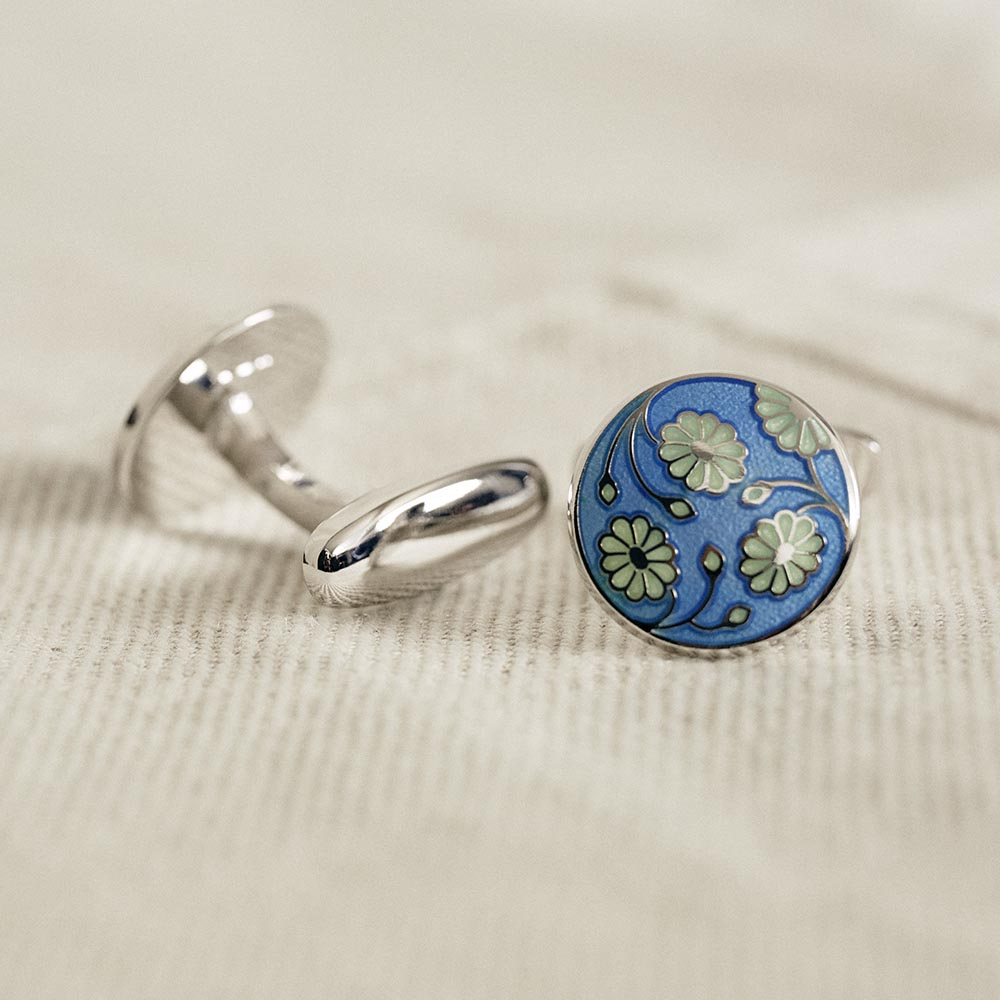Cufflinks Sterling Daisy Sky Blue-White