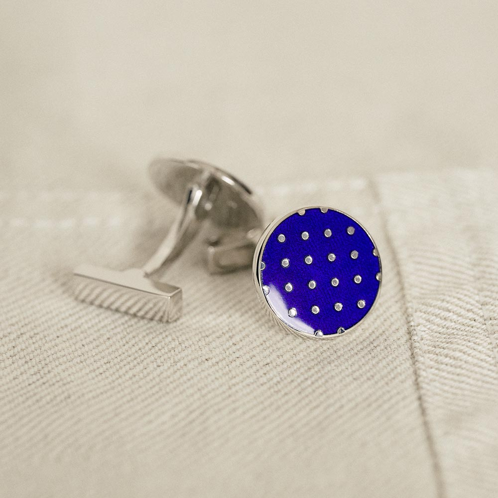 Cufflinks Sterling Multispot Navy
