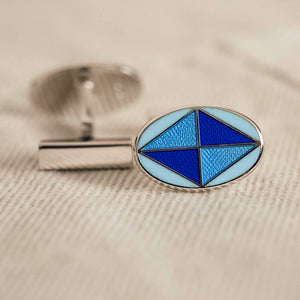 Cufflinks Sterling Oval Flag PaleBlue