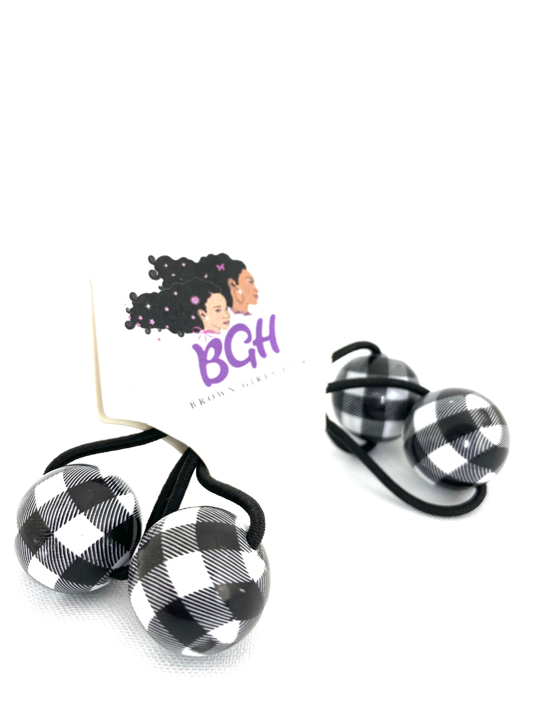 B&W Plaid Hair Ballies | Hair Knockers Bobbles