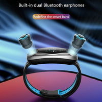 Smart Watch Wireless in-Ear Bluetooth Earphone, 2-in-1 Sports Headphone Magnetic Charging Earbuds for Motion Tracking,Listen Music Heart Rate Monitor Sport Smart Bracelet Long Standby-thumbnail
