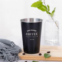 Black Stainless Steel Coffee Mug Silicone Lid Creative Letter Pattern Travel Camping Tea Milk Cups Home Office School Gift 500ml-thumbnail