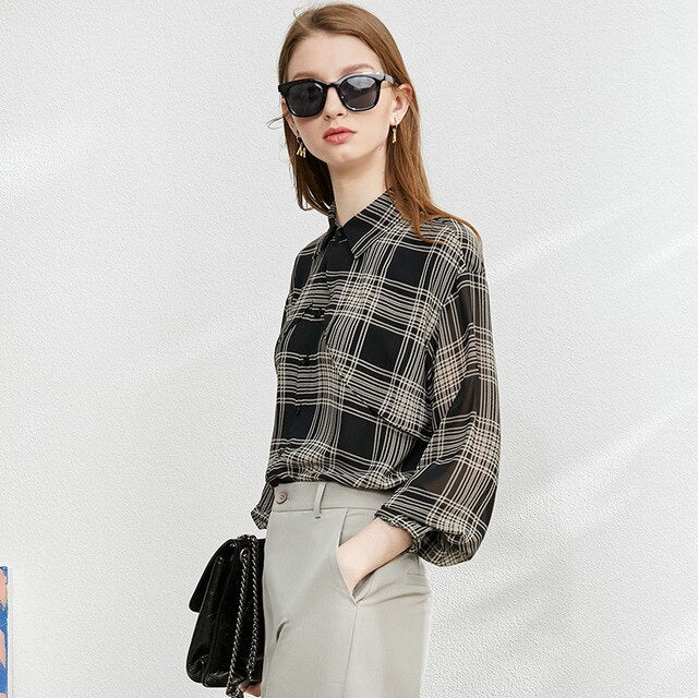Plaid V'neck Shirt&Skirt