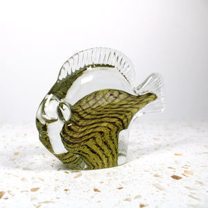 Mid-Century Modern Swedish Glass Fish Paperweight by Reijmyre