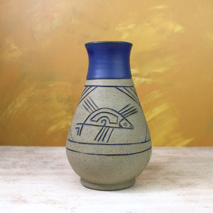 Vintage Stoneware Vase with Incised Fish Pattern and Blue Glaze