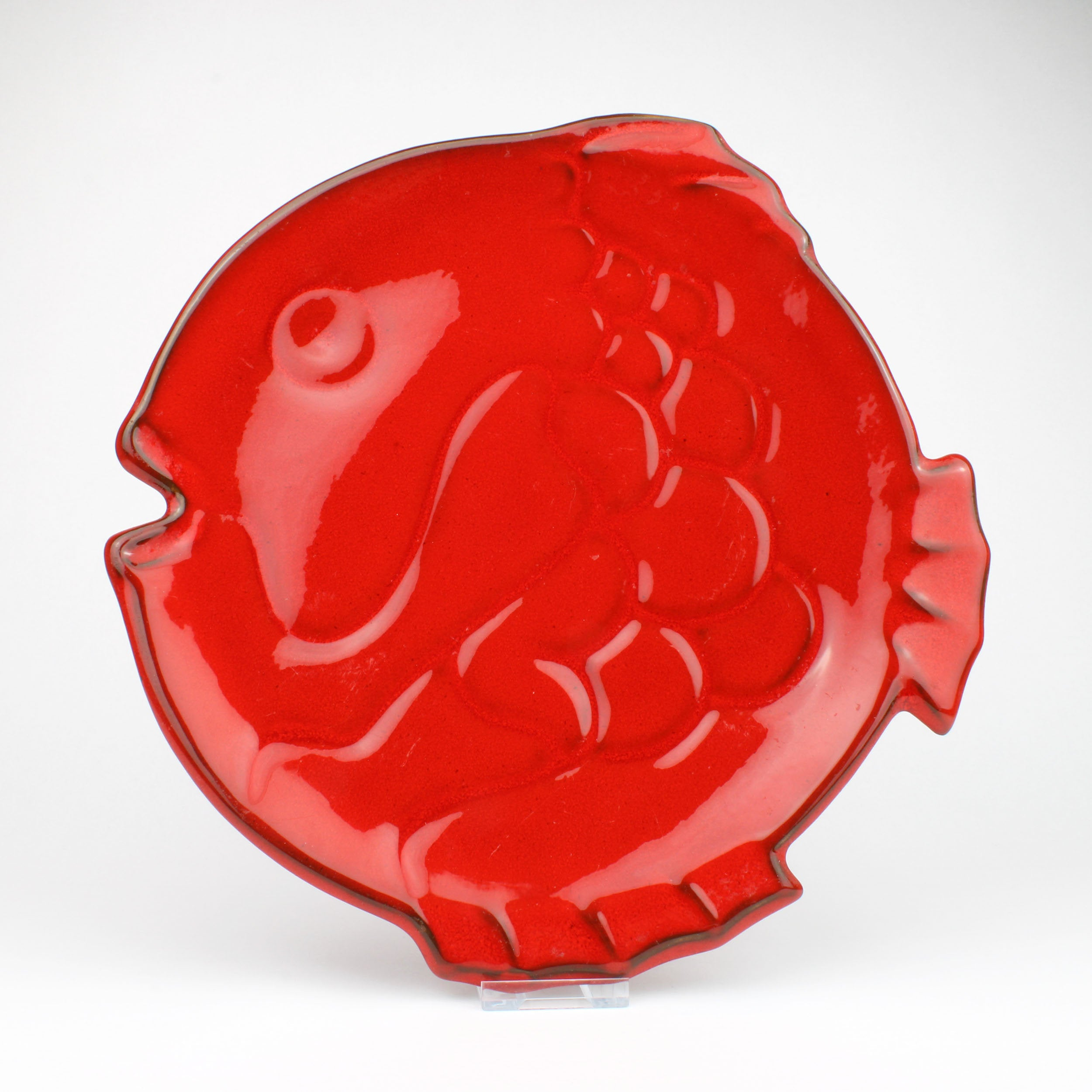 Red Ceramic Fish Platter by Ernestine Virden Cannon, Salerno, Italy