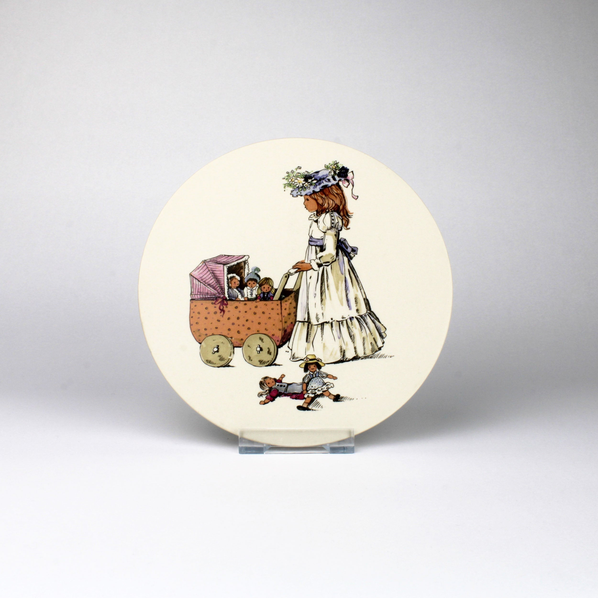 Hornsea Pottery Plaque with Child Playing with Pram