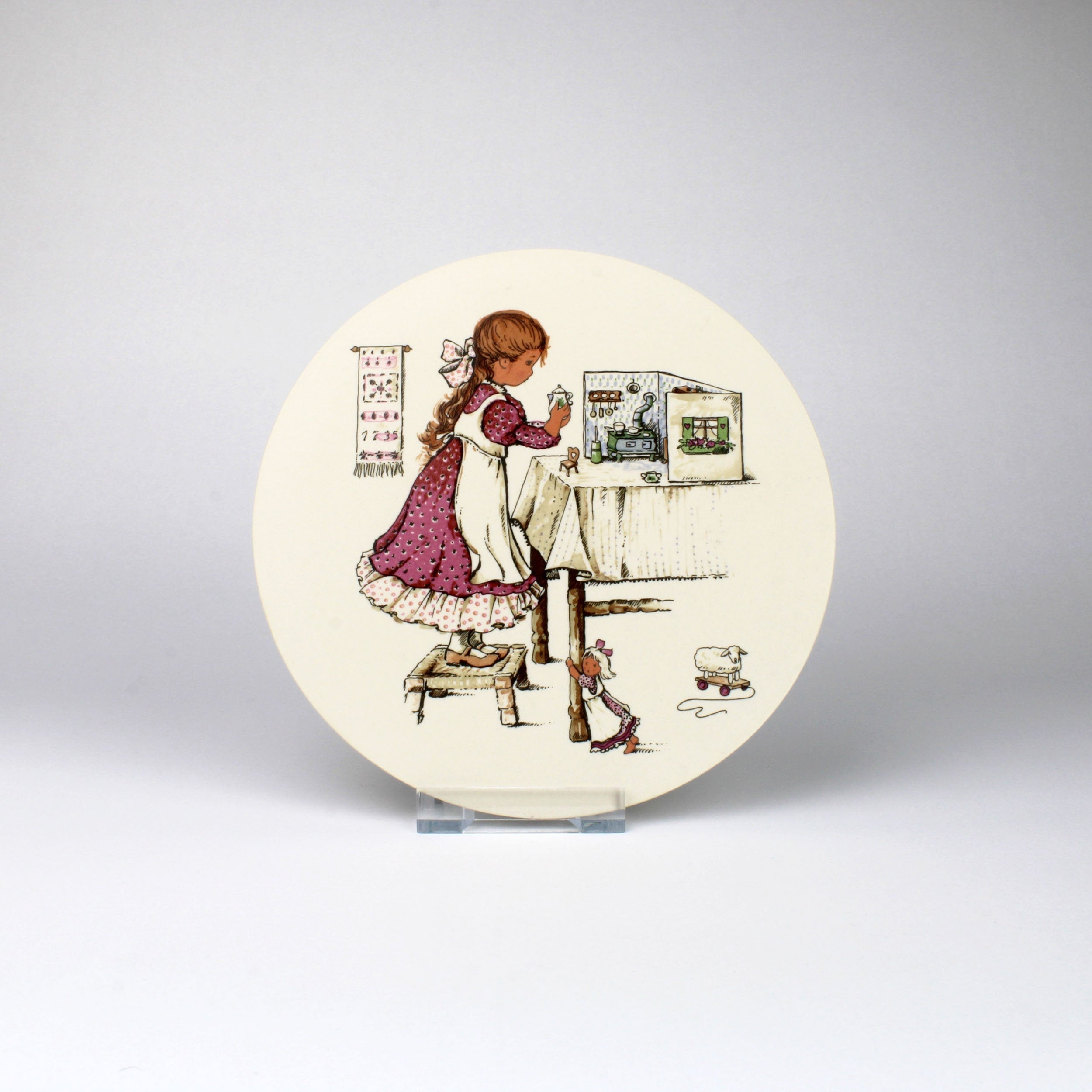 Hornsea Pottery Plaque with Child Playing Dolls