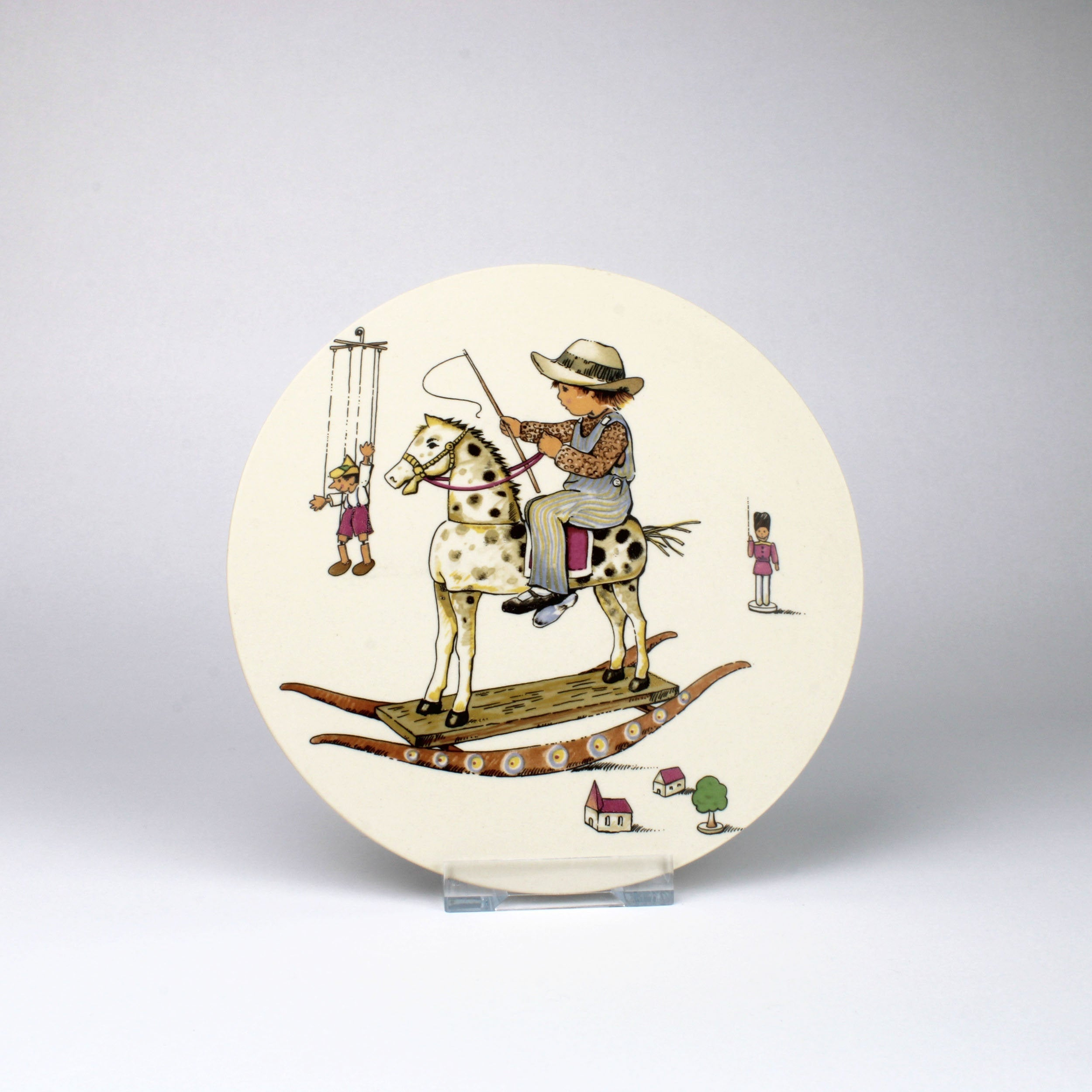 Hornsea Pottery Plaque with Cowboy on Rocking Horse
