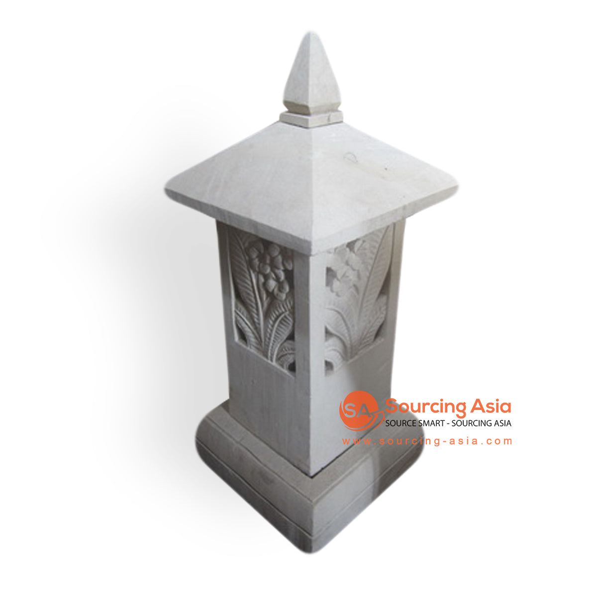 AGR026 CANDLE HOLDER WITH FRANGIPANI CARVING