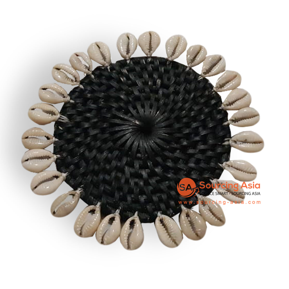 ALI062-1 RATTAN AND SHELL COASTER