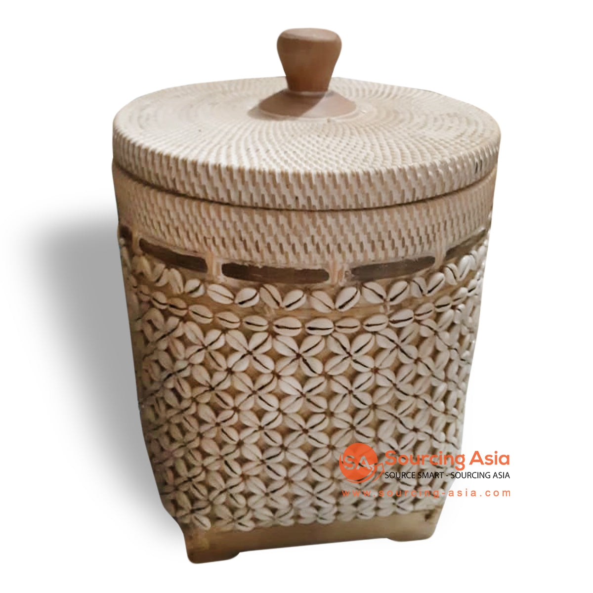 ALI071 SHELL AND RATTAN BASKET