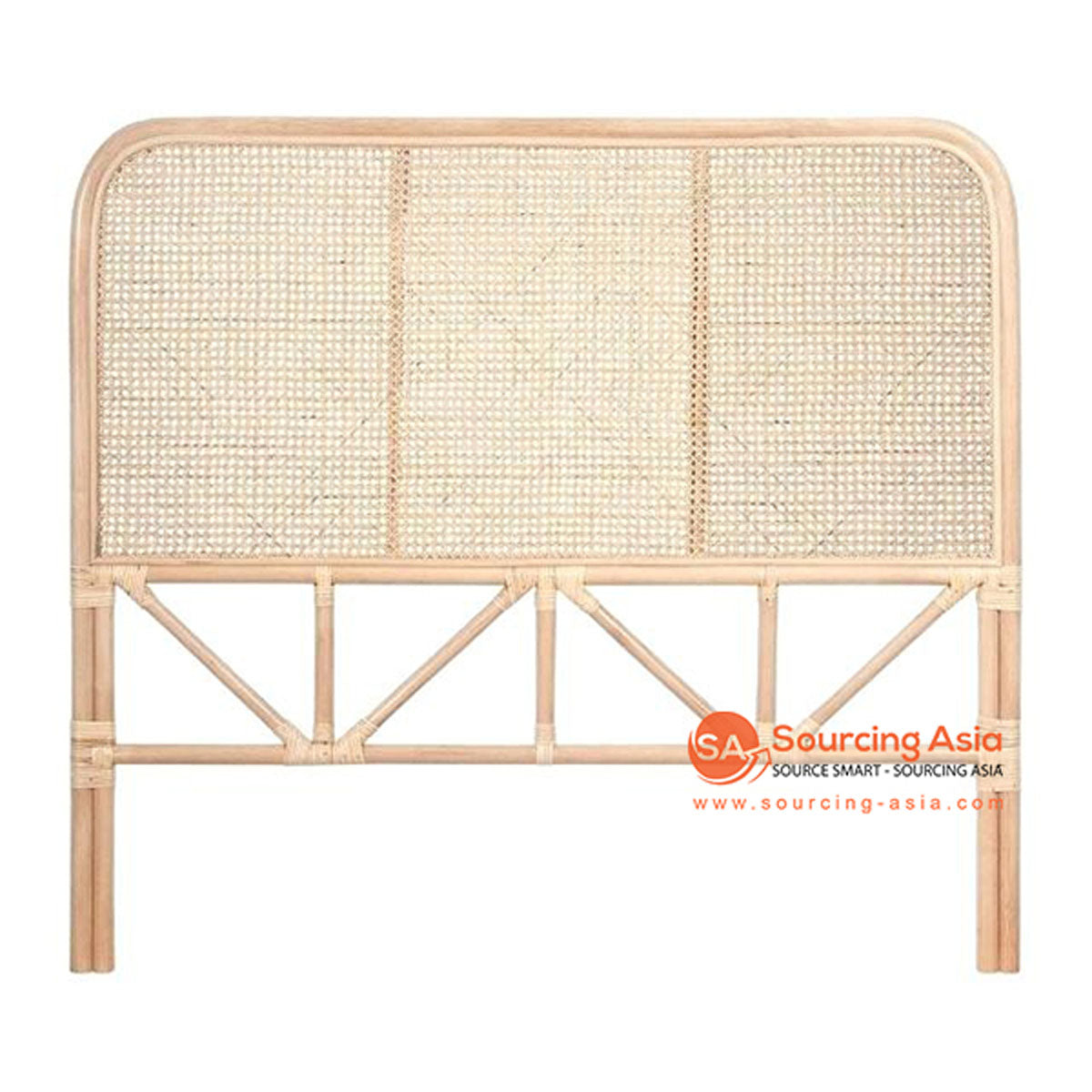 SHL078 NATURAL RATTAN CLASSIC SQUARE BEDHEAD WITH THREE PANELS