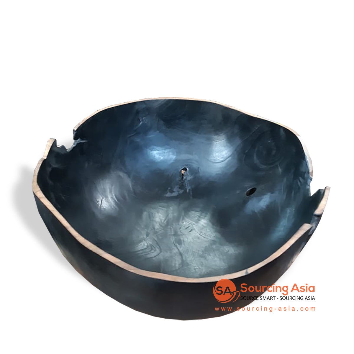 BMW132-2BK TEAK WOOD BOWL BLACK