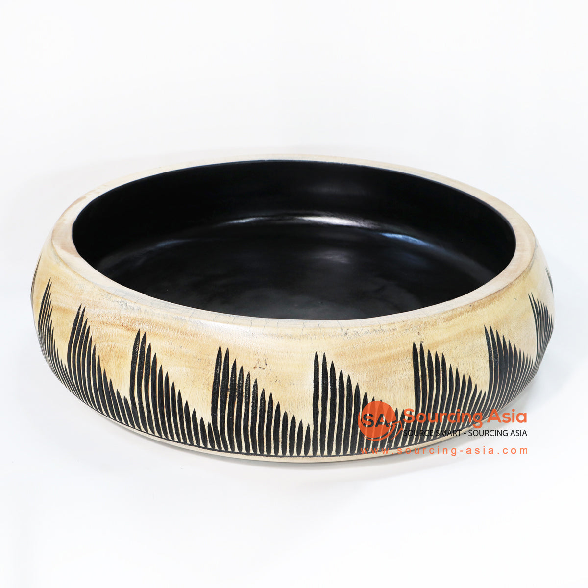 BMWC015 MANGO WOOD BOWL WITH TRIBAL CARVING