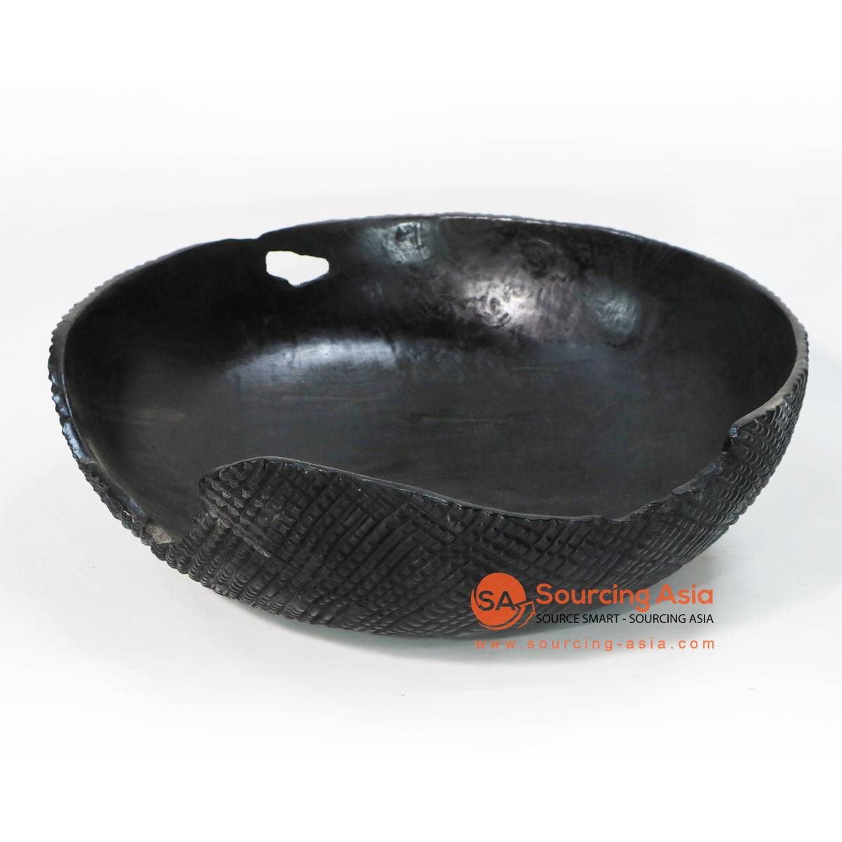 BMWC041 BLACK TEAK WOOD SERVING BOWL