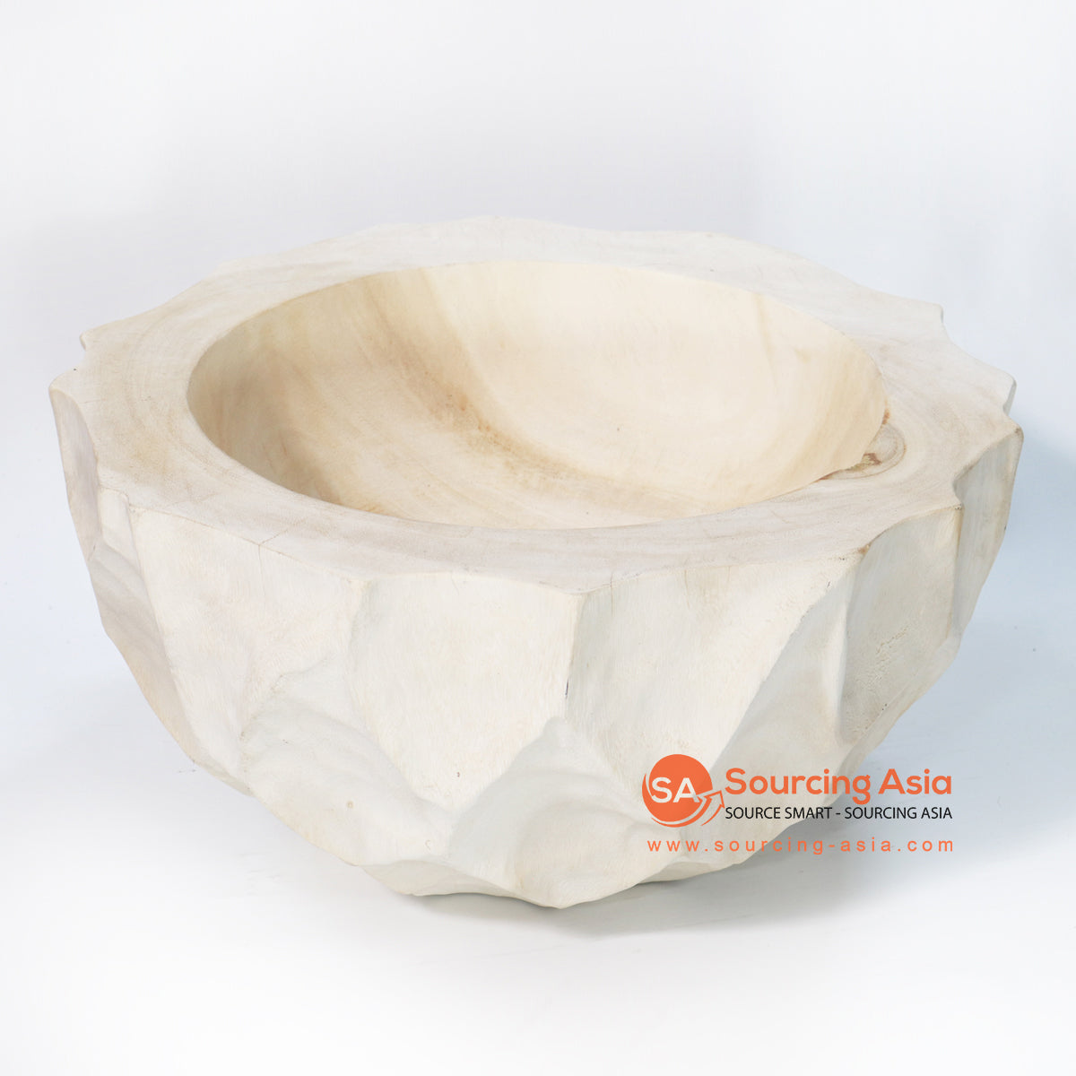 BMWC045 THICK MANGO WOOD SCALLOPED BOWL