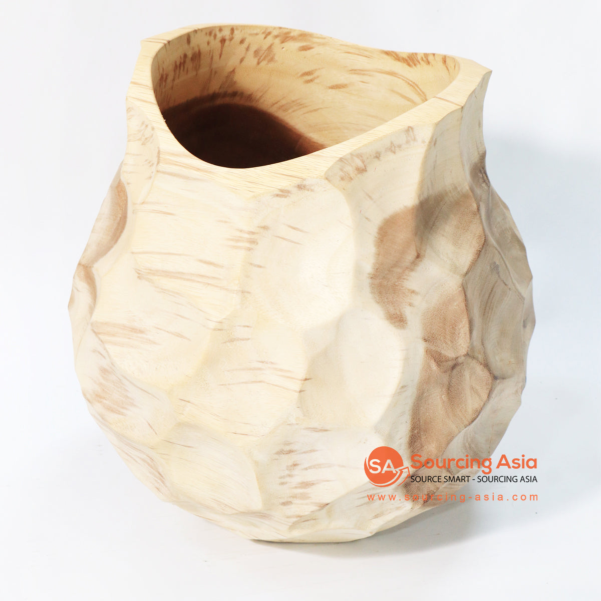 BMWC053 GENDUT SCALLOPED SUAR WOOD VASE