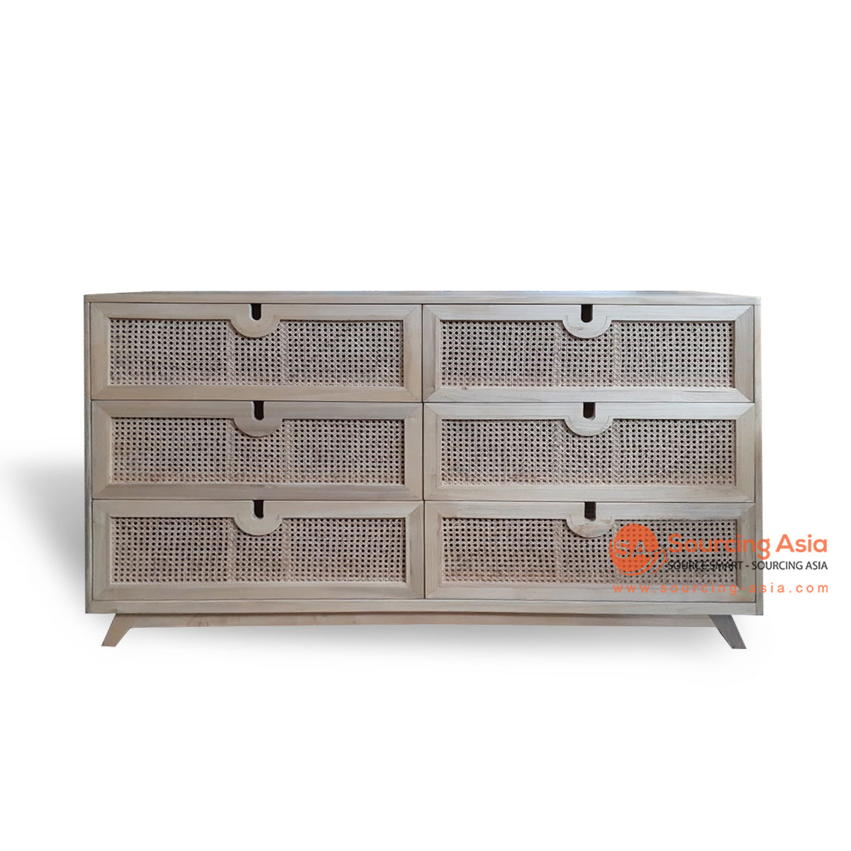 BNT217 BUFFET WITH SIX DRAWERS AND CHICKEN EYES WOVEN
