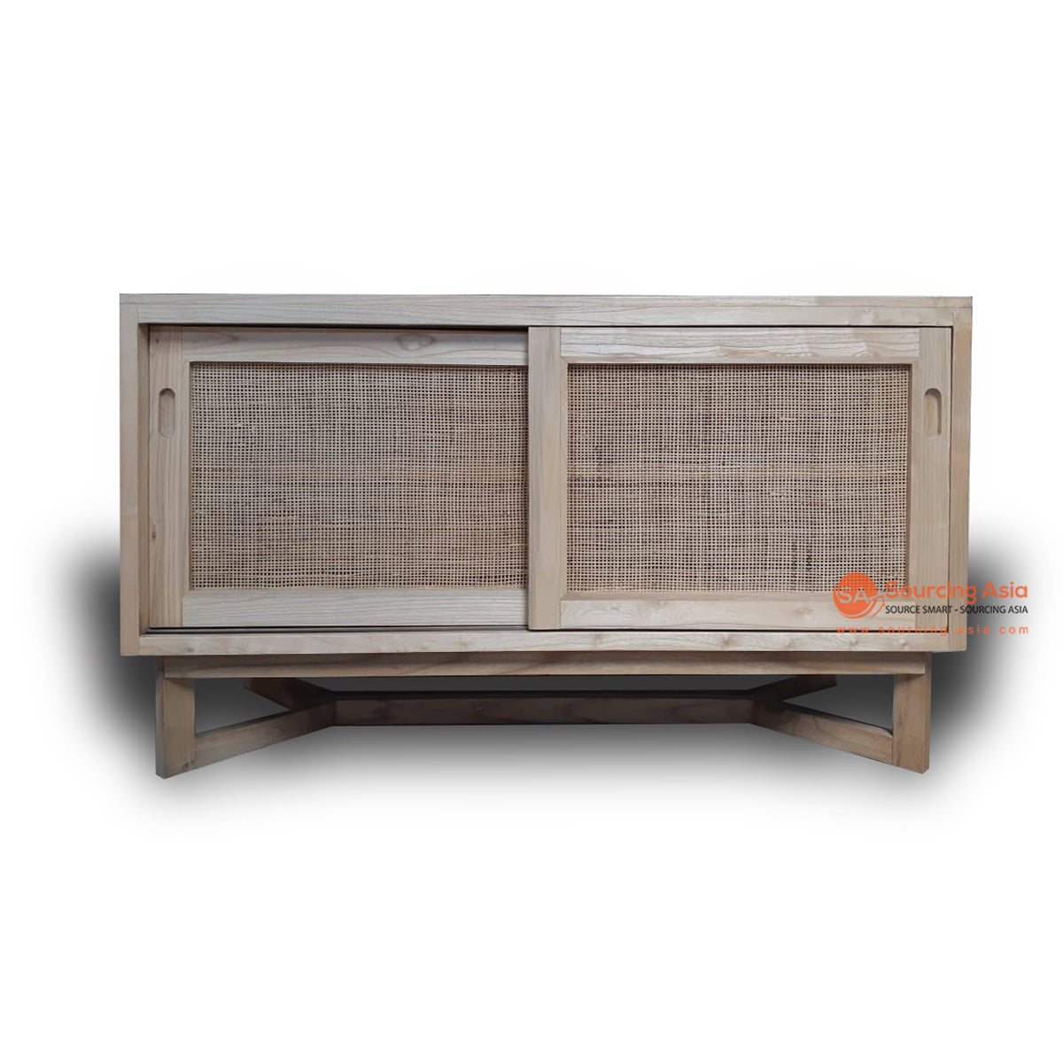 BNT219 RATTAN CABINET WITH TWO SLIDING DOORS AND WOODEN TOP