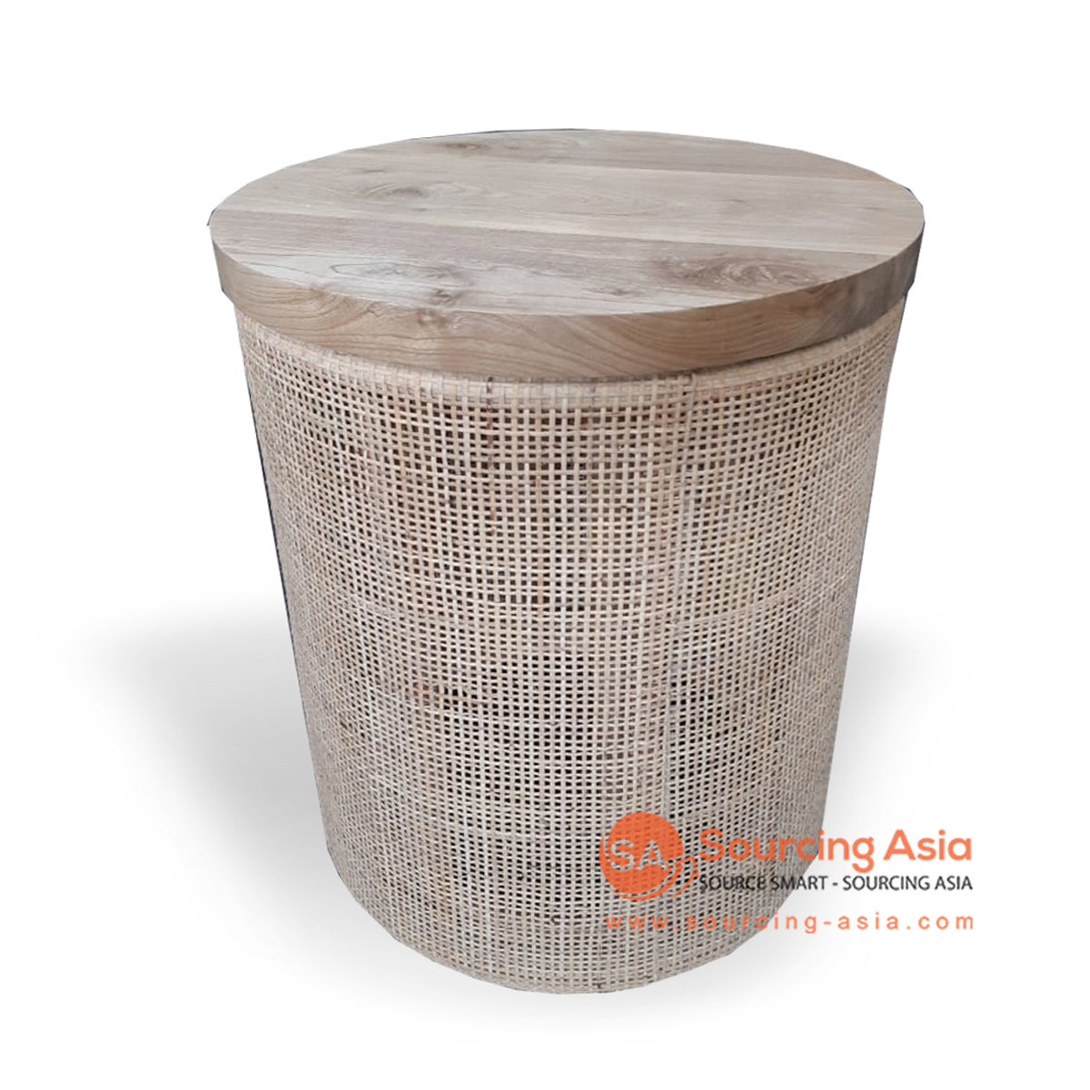 BNT222 RATTAN SIDE TABLE WITH TEAK WOOD TOP