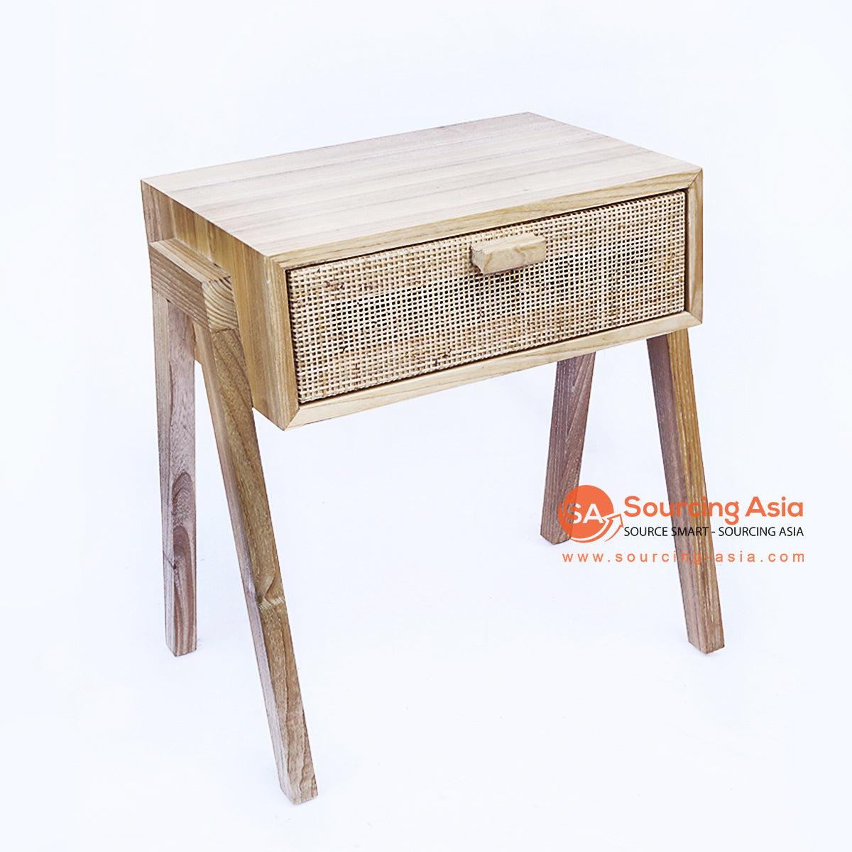 BNT265-1 RATTAN AND TEAK WOOD BEDSIDE TABLE