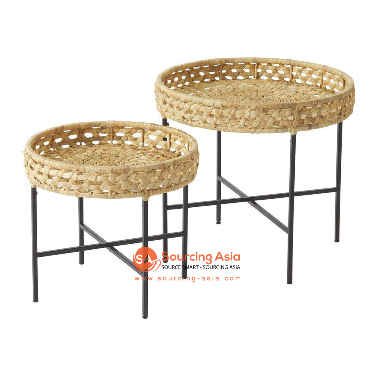 BNT289 SET OF 2 WOVEN ROUND SIDE TABLES