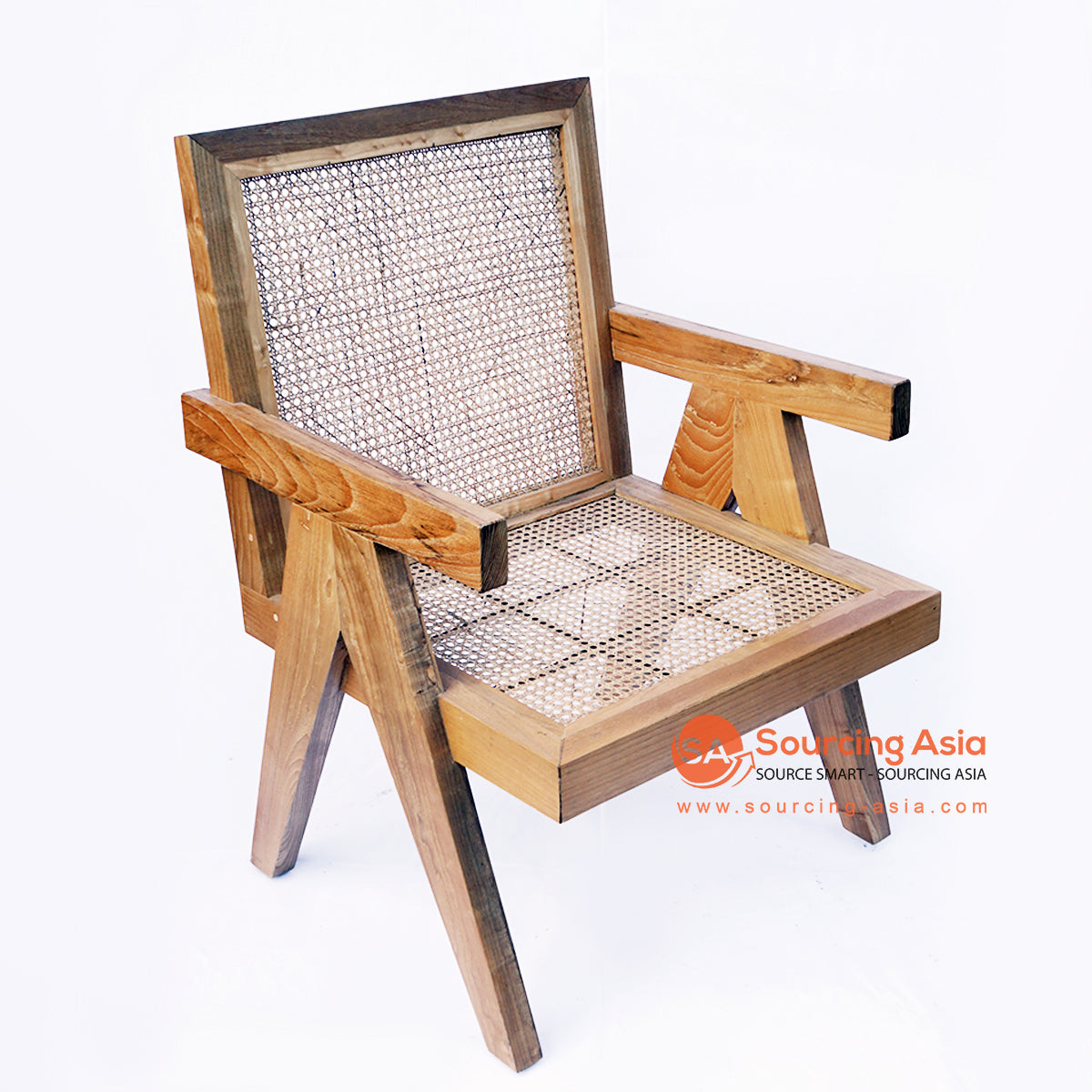 BNTC001-19 RATTAN AND TEAK WOOD DINING CHAIR