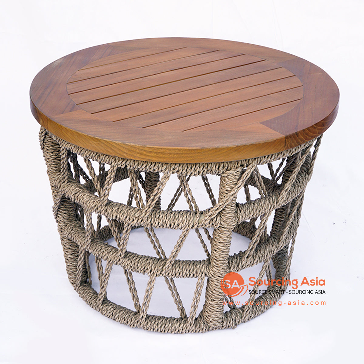 BNTC005-2 ROUND WOODEN TOP AND SYNTHETIC RATTAN TRAY TABLE